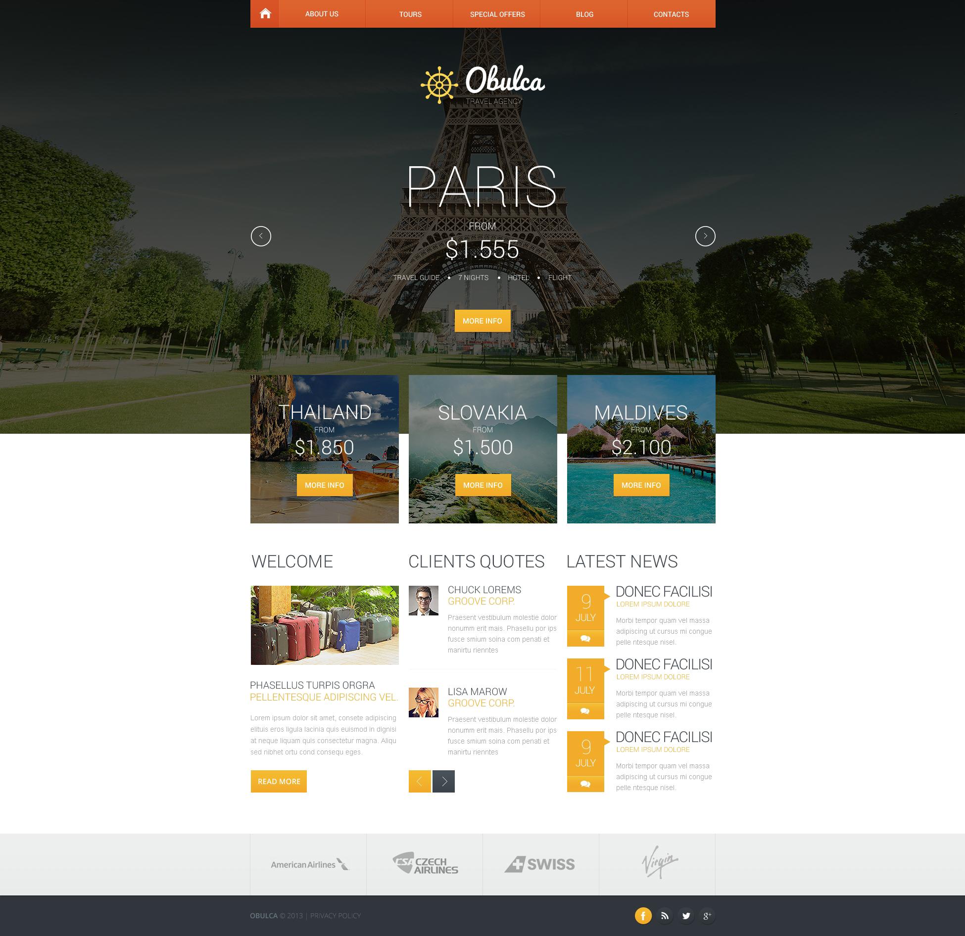 Travel Agency Responsive Website Template #45771