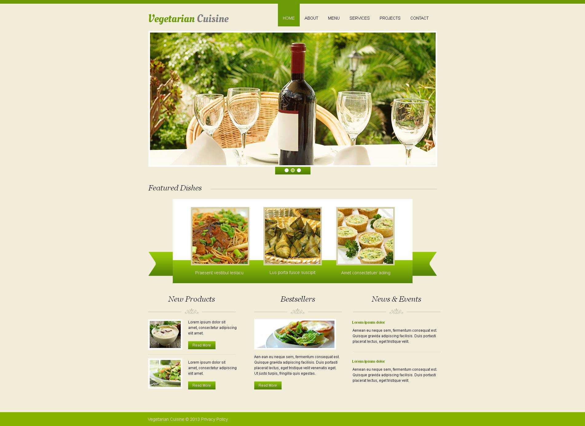 Vegetarian Restaurant Moto CMS HTML Template