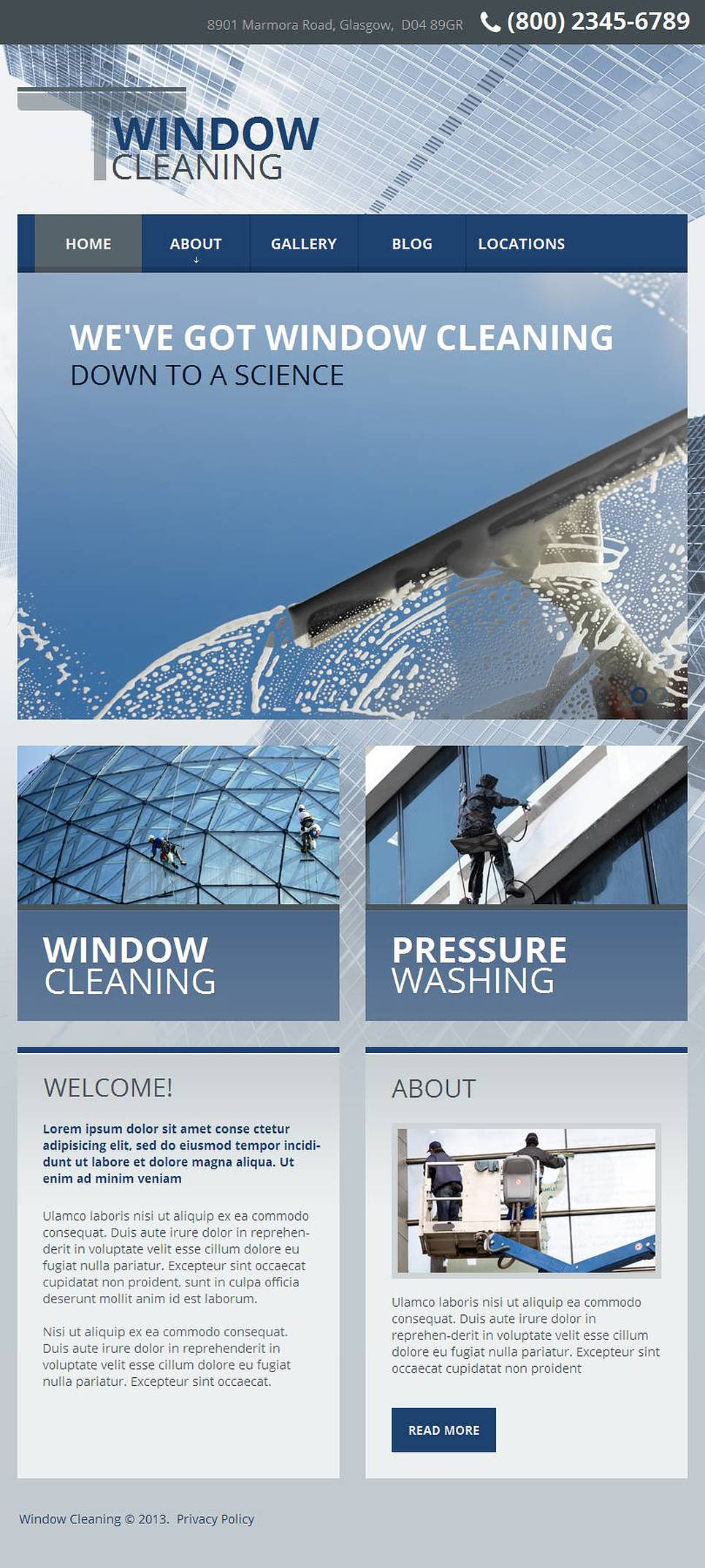 window cleaning facebook html cms template 45797. Black Bedroom Furniture Sets. Home Design Ideas