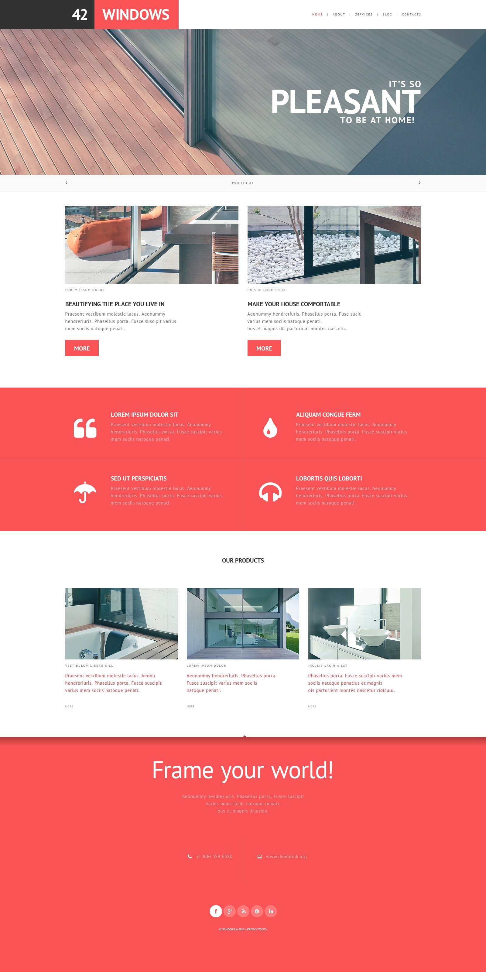 Windows doors responsive website template 45755 for Interior design responsive website templates edge free download