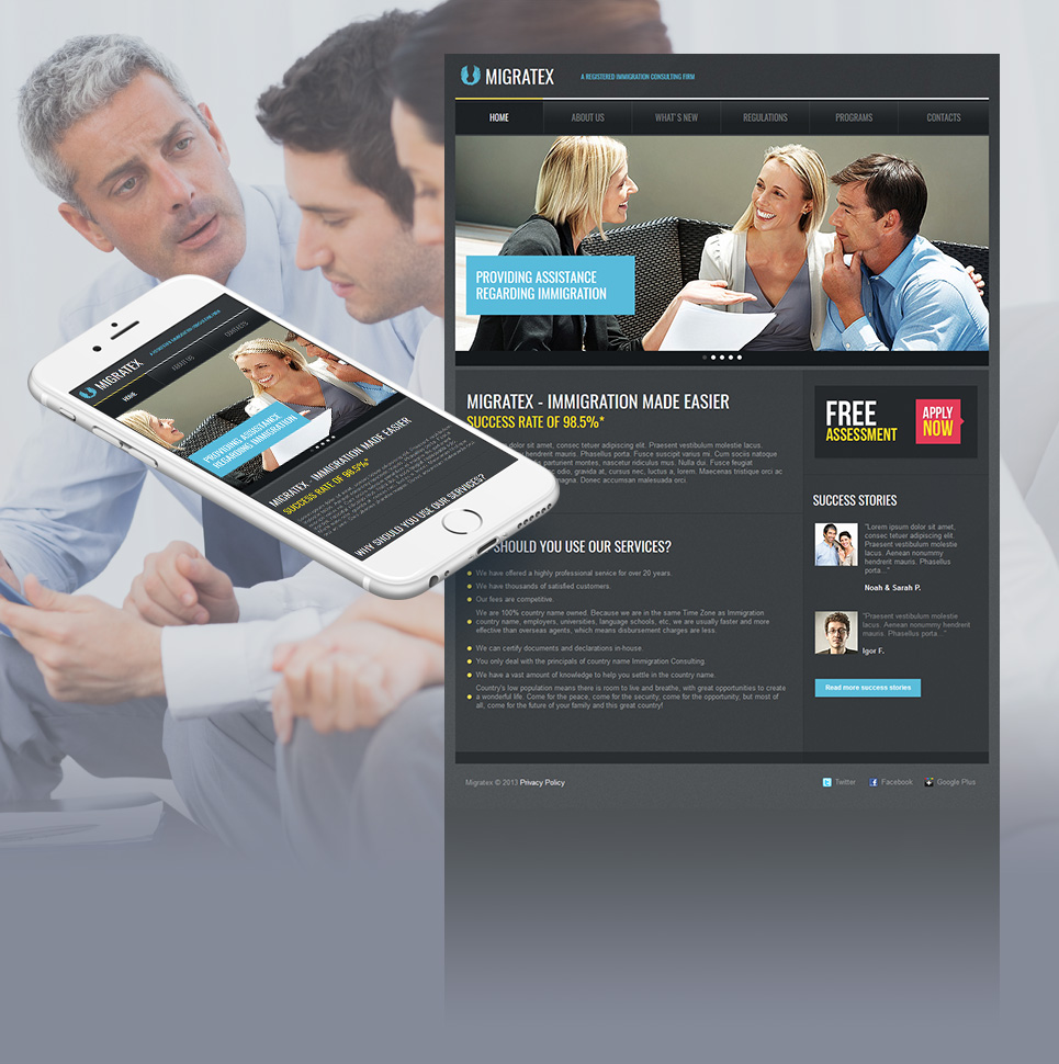 Immigration Consulting Website Template in Gray Tones - image