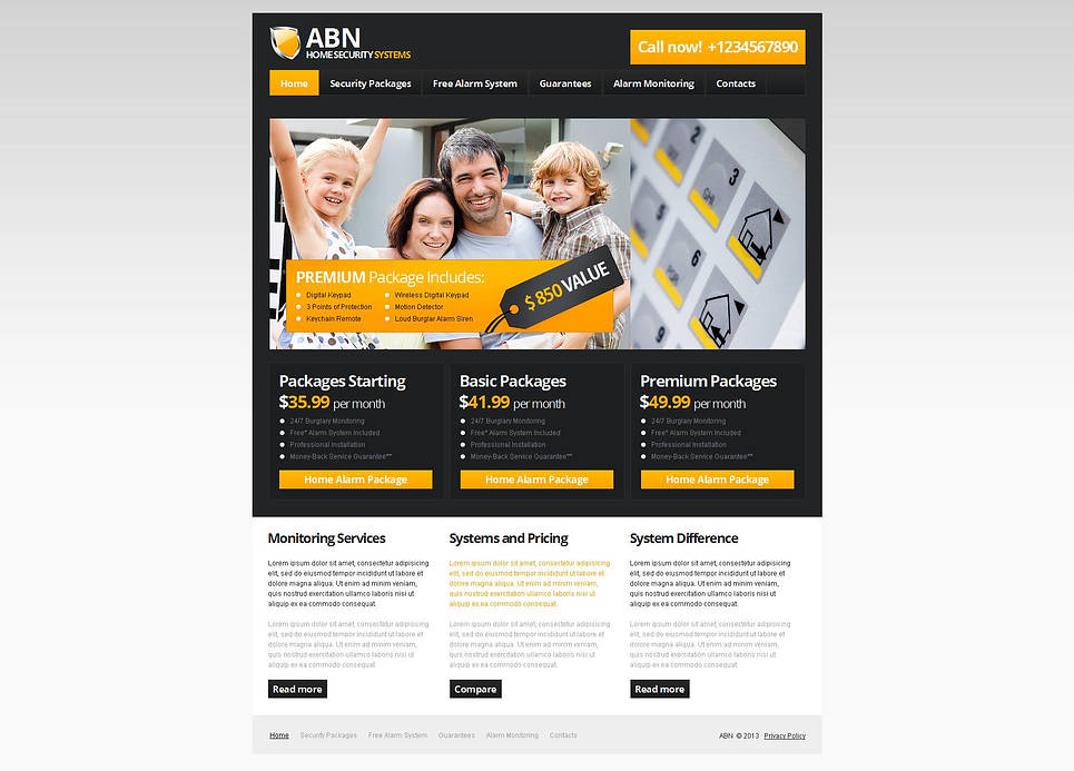 Home Security Systems Website Template with CMS - image