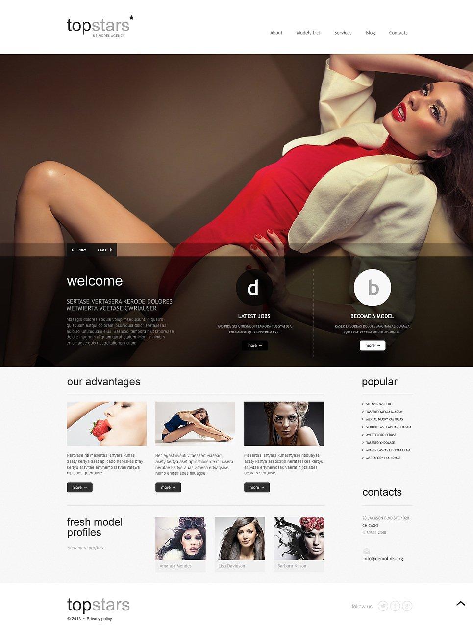 Адаптивный шаблон сайта на тему модельное агентство #45885