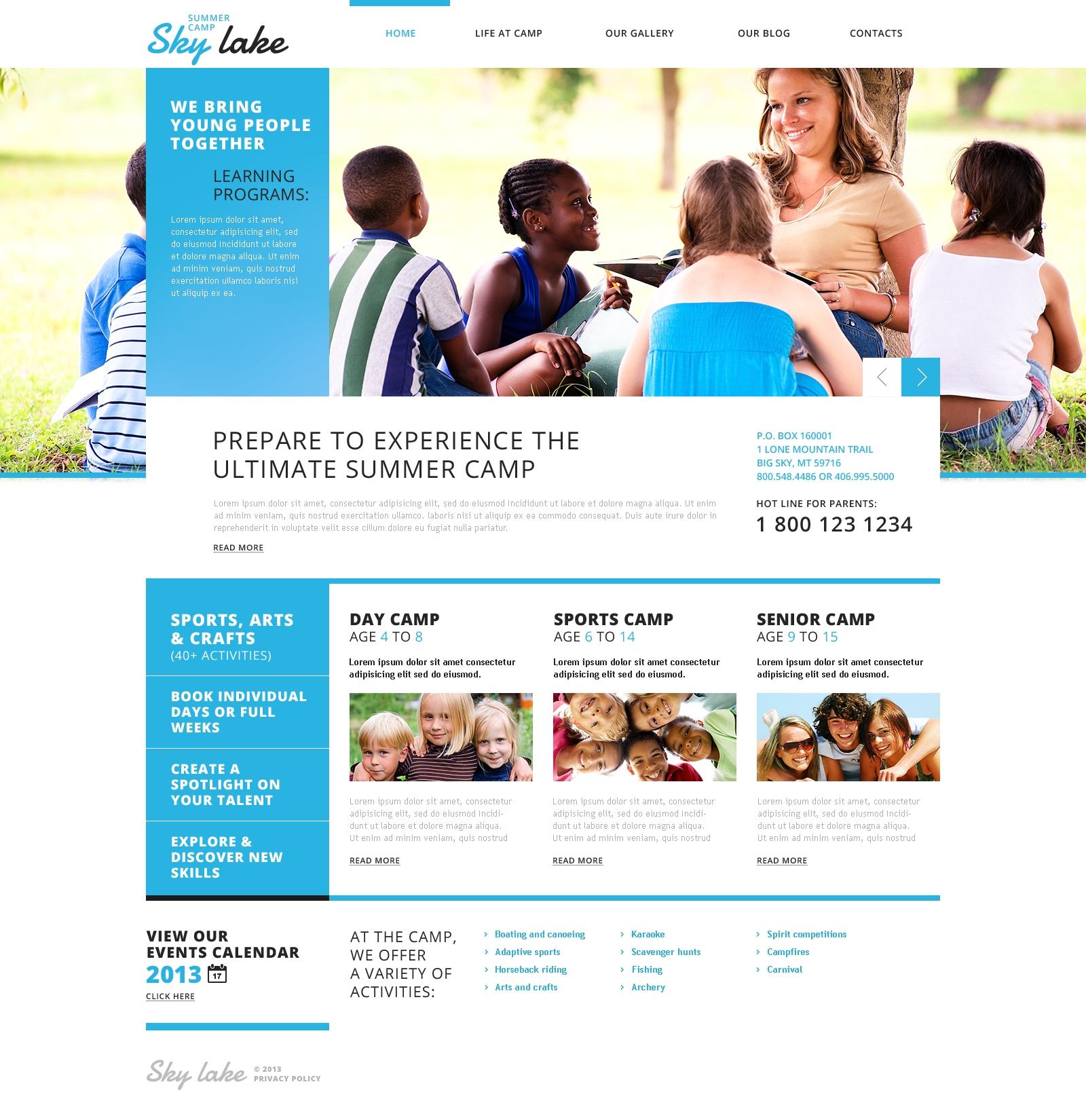 """""""Camp d'été joyeux"""" thème WordPress adaptatif #45829 - screenshot"""