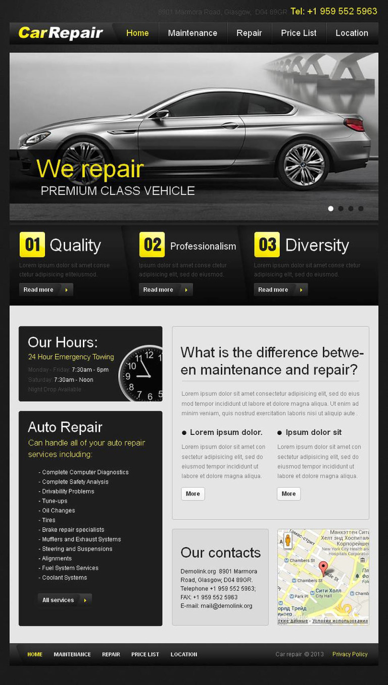Car Repair Facebook HTML CMS Template New Screenshots BIG