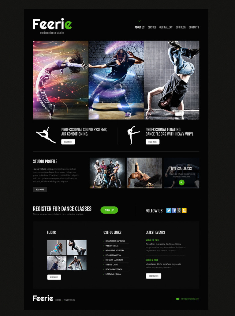 Dance Studio Responsive WordPress Theme New Screenshots BIG