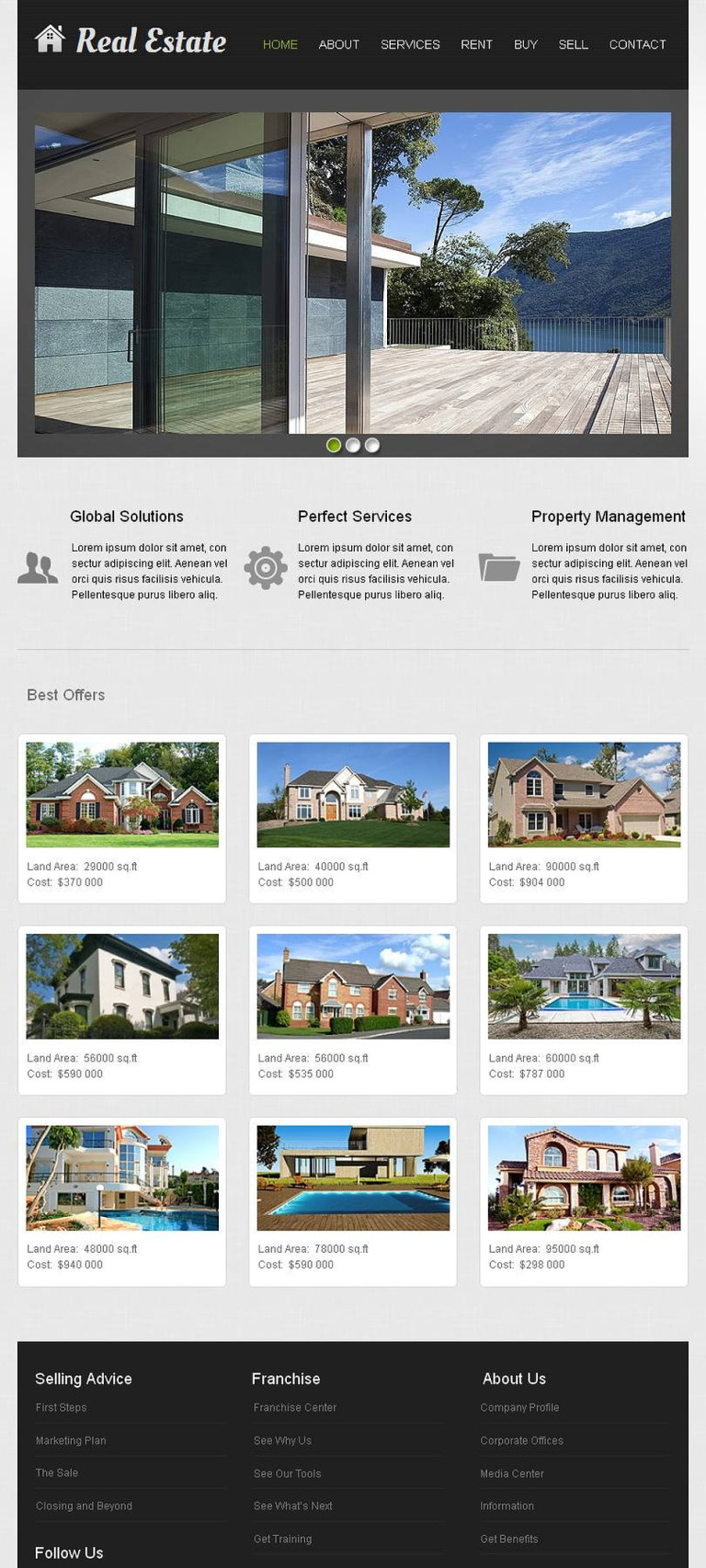 Real Estate Agency Facebook HTML CMS Template New Screenshots BIG