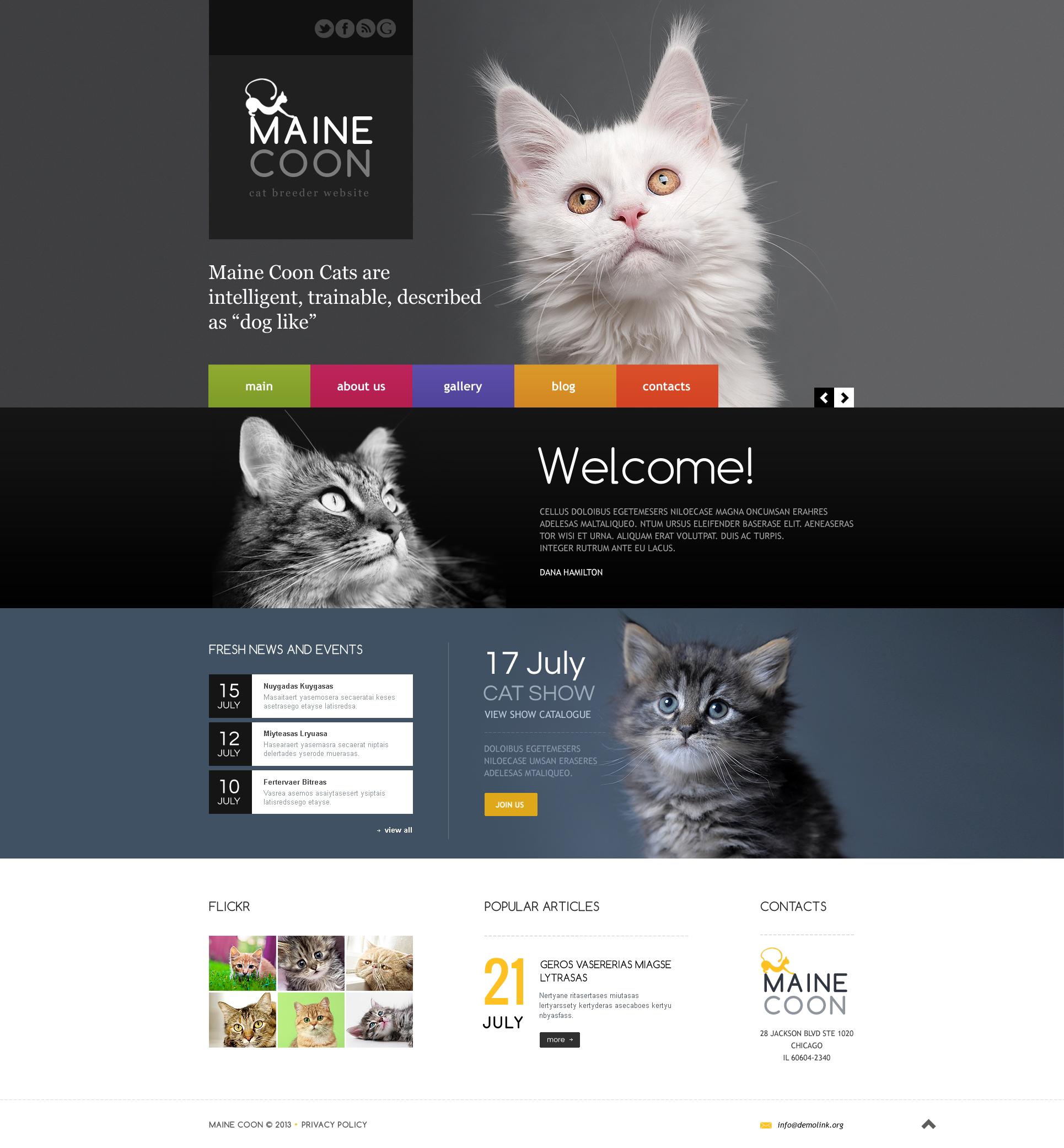 Reszponzív Macskák témakörű Weboldal sablon 45870