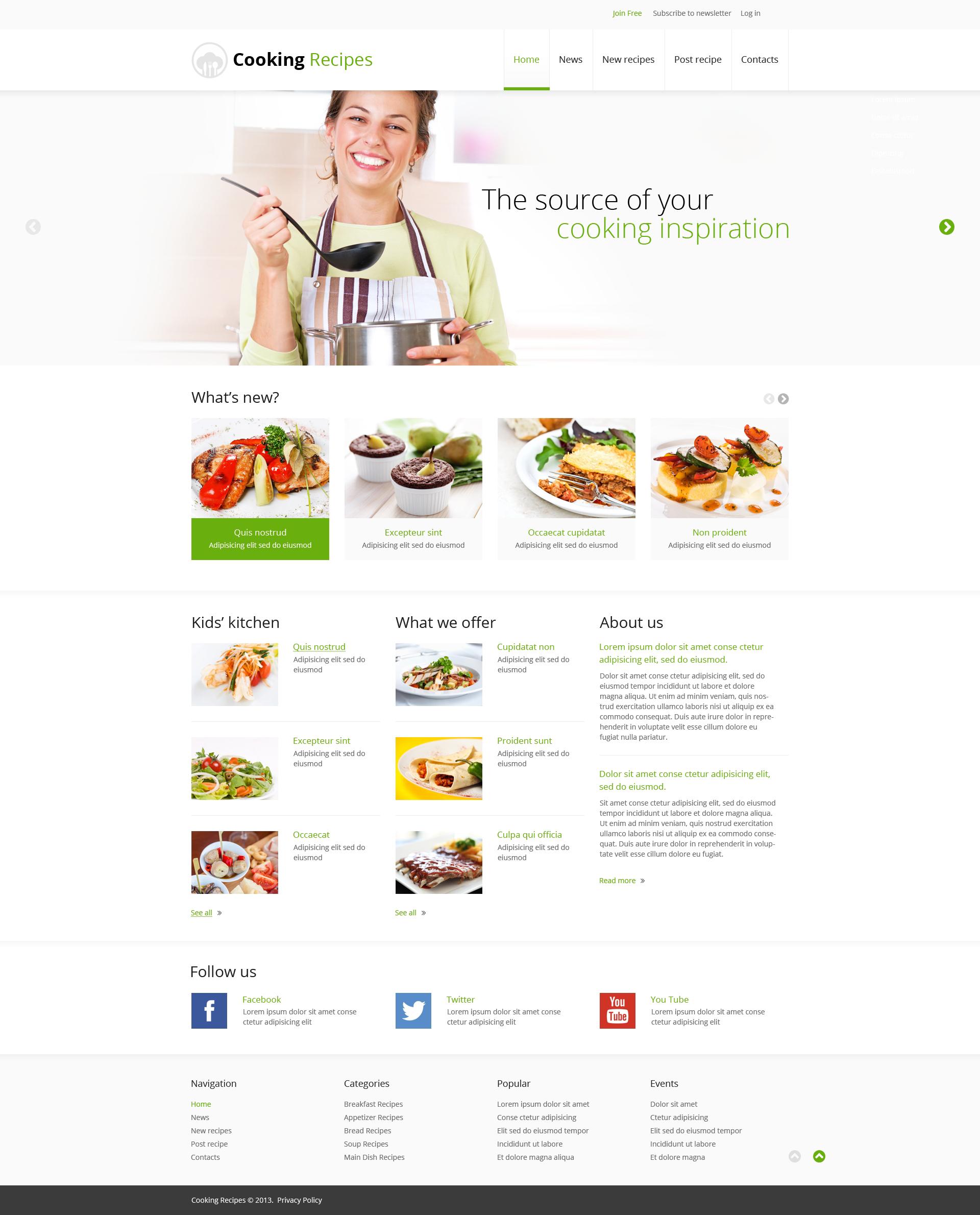 template siti web responsive 45865 per un sito di cucina