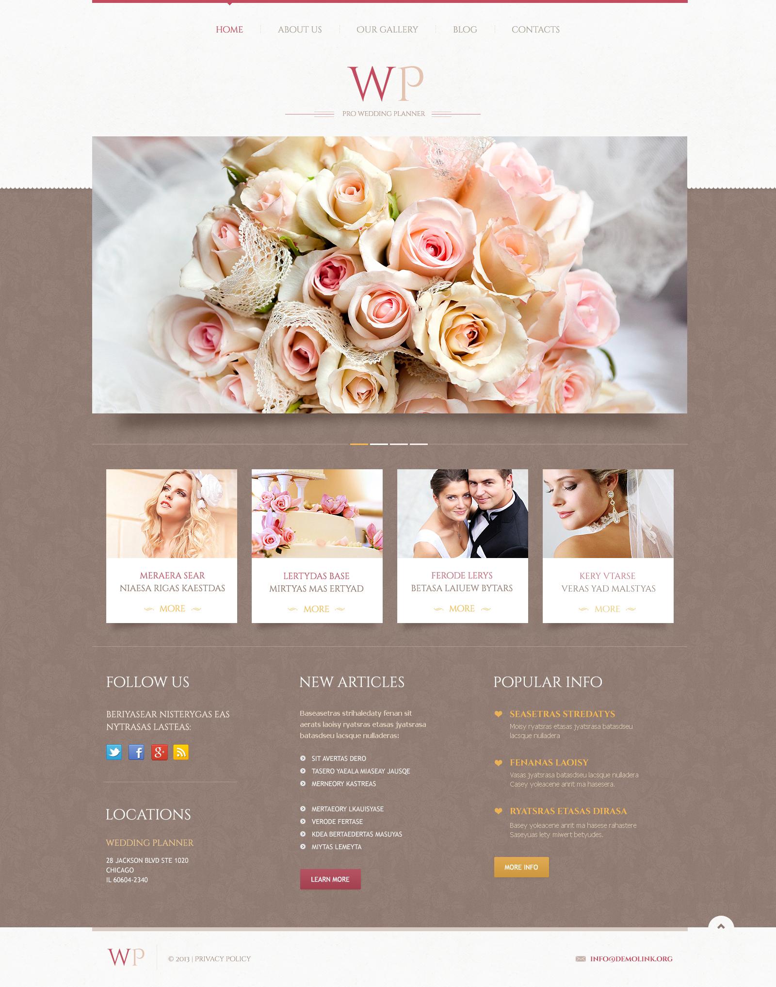 """Tender Wedding Planner"" - адаптивний WordPress шаблон №45883"