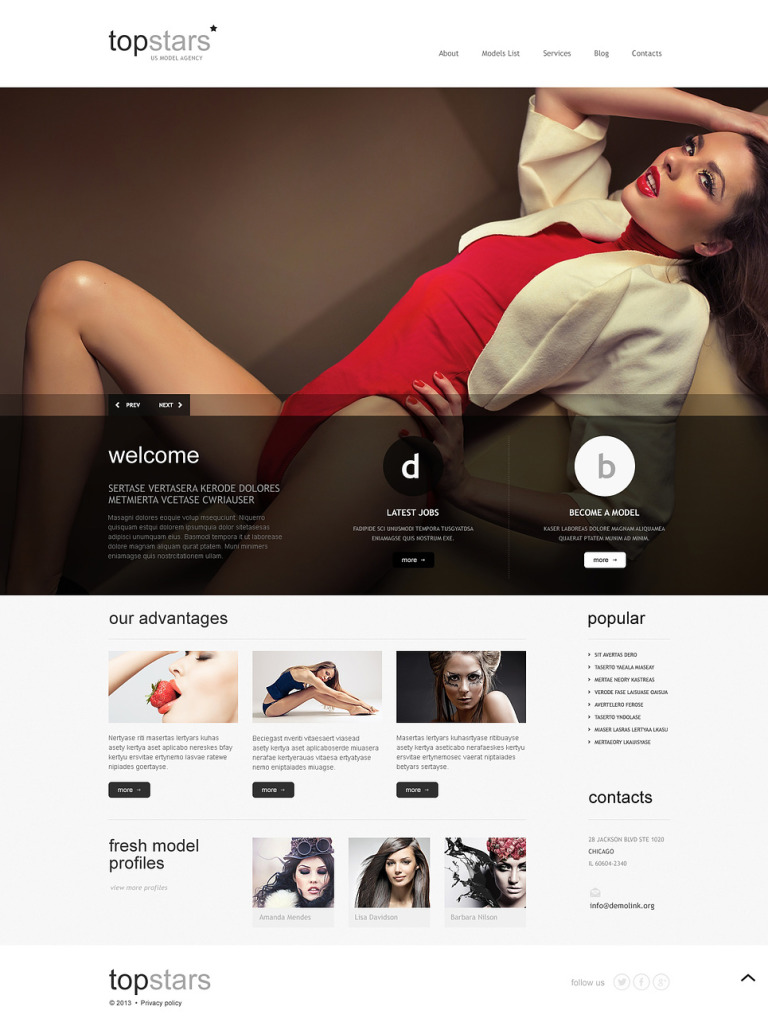 Topstars Model Agency WordPress Theme New Screenshots BIG