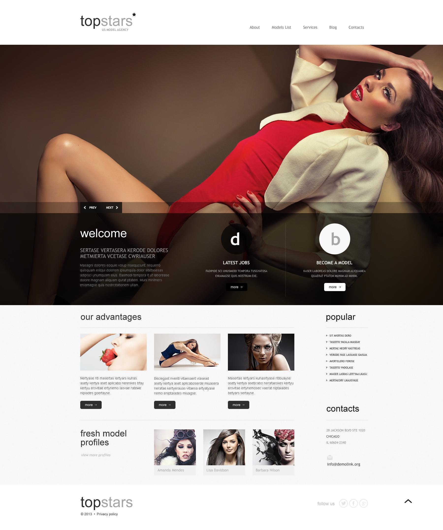 Topstars Model Agency WordPress Theme - screenshot