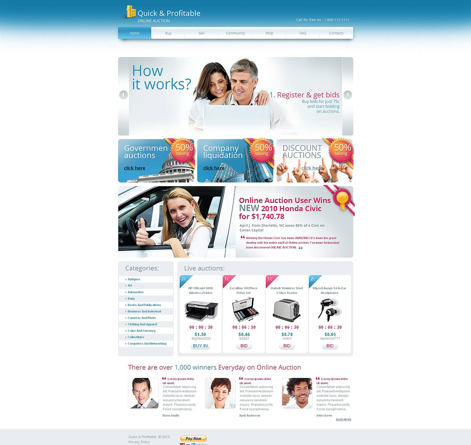 Online Auction Website Template Designed in White and Blue Colors - image