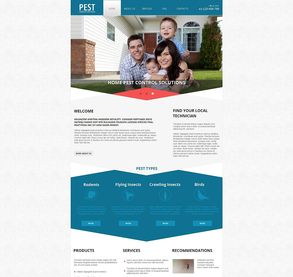 Pest Control Website Template with Varicolored Shapes - image