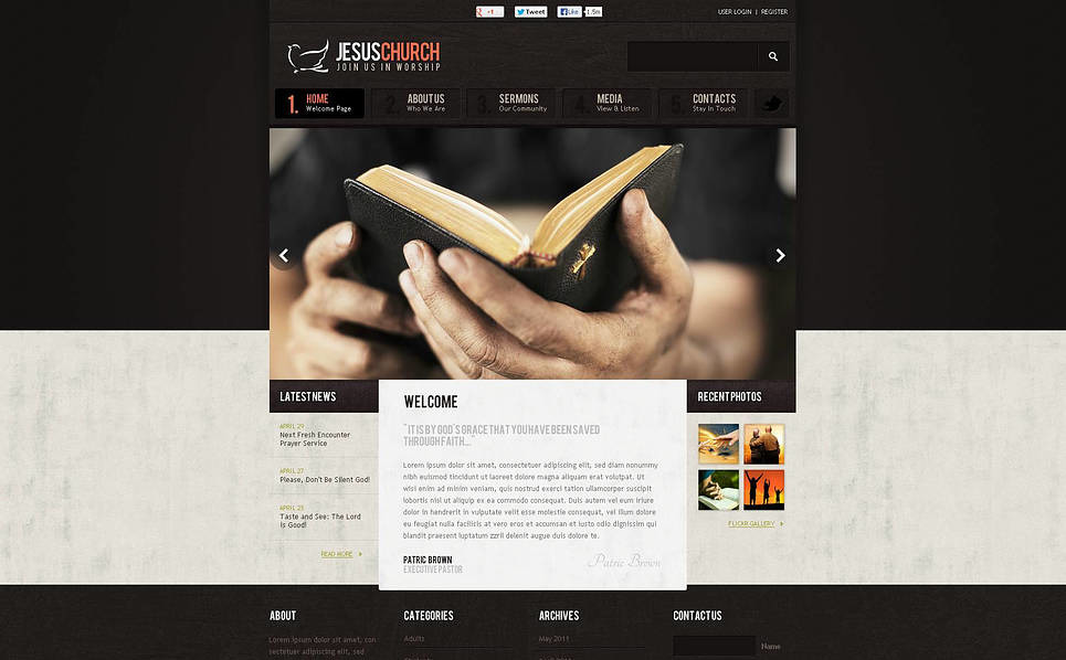 Premium Christian Templates Flash Cms Şablon New Screenshots BIG