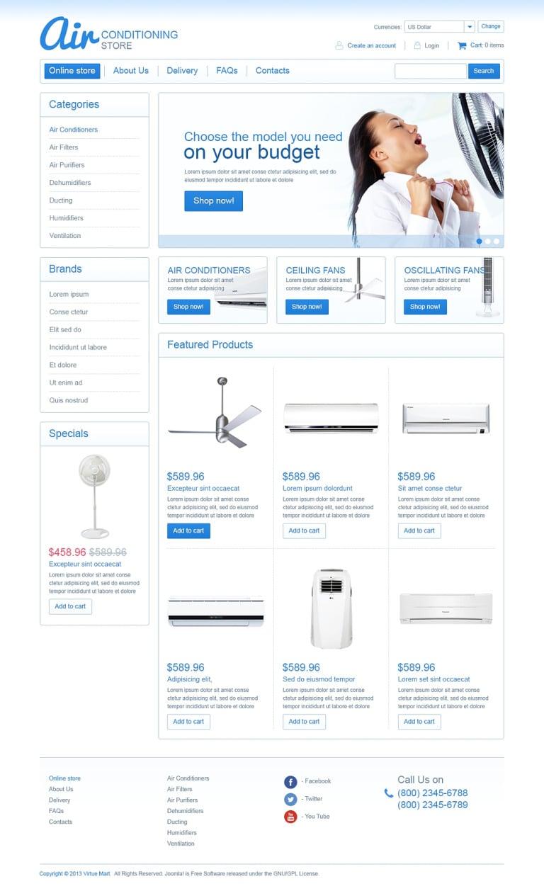 Air Conditioning Store VirtueMart Template New Screenshots BIG
