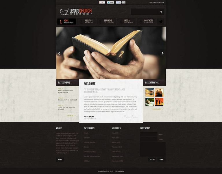 Christian Flash CMS Template New Screenshots BIG