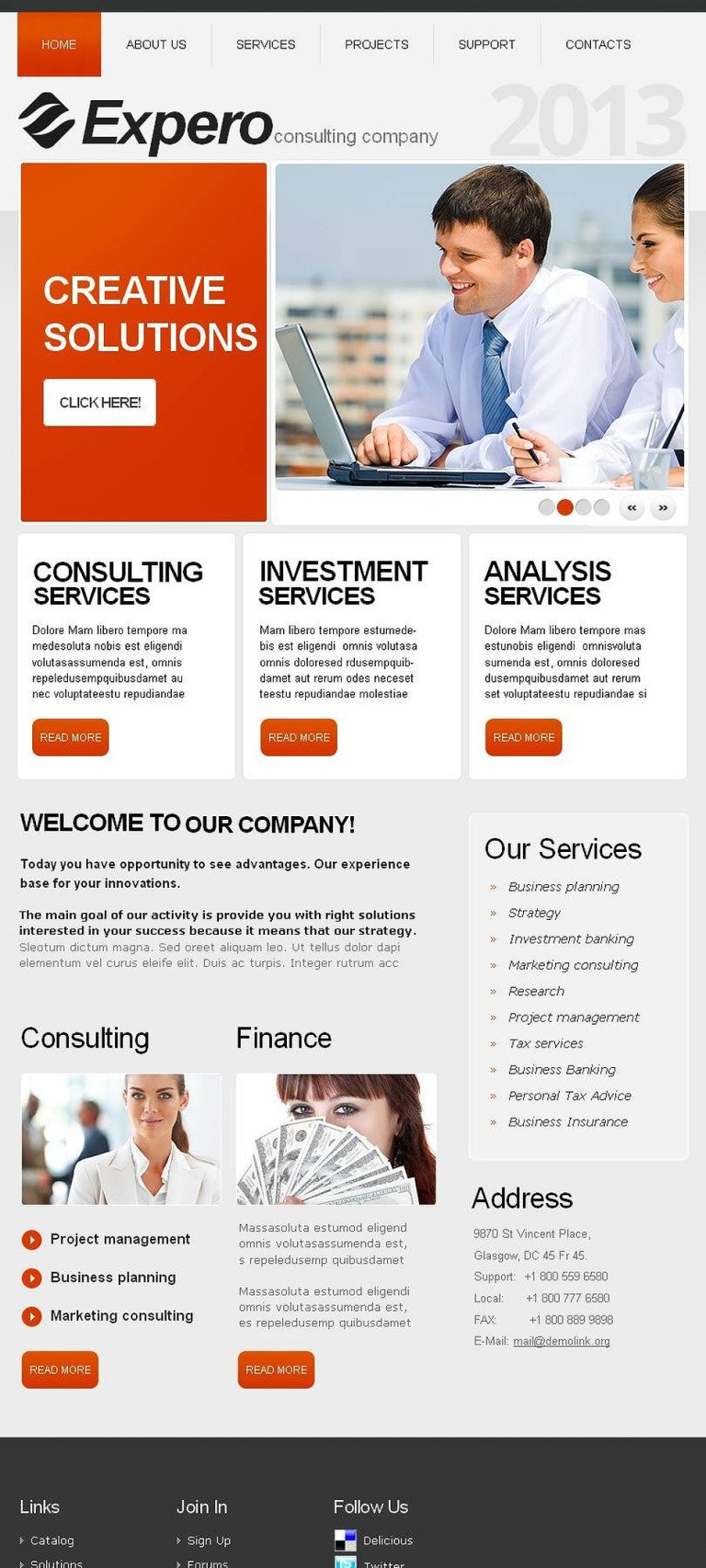 Consulting Facebook HTML CMS Template New Screenshots BIG
