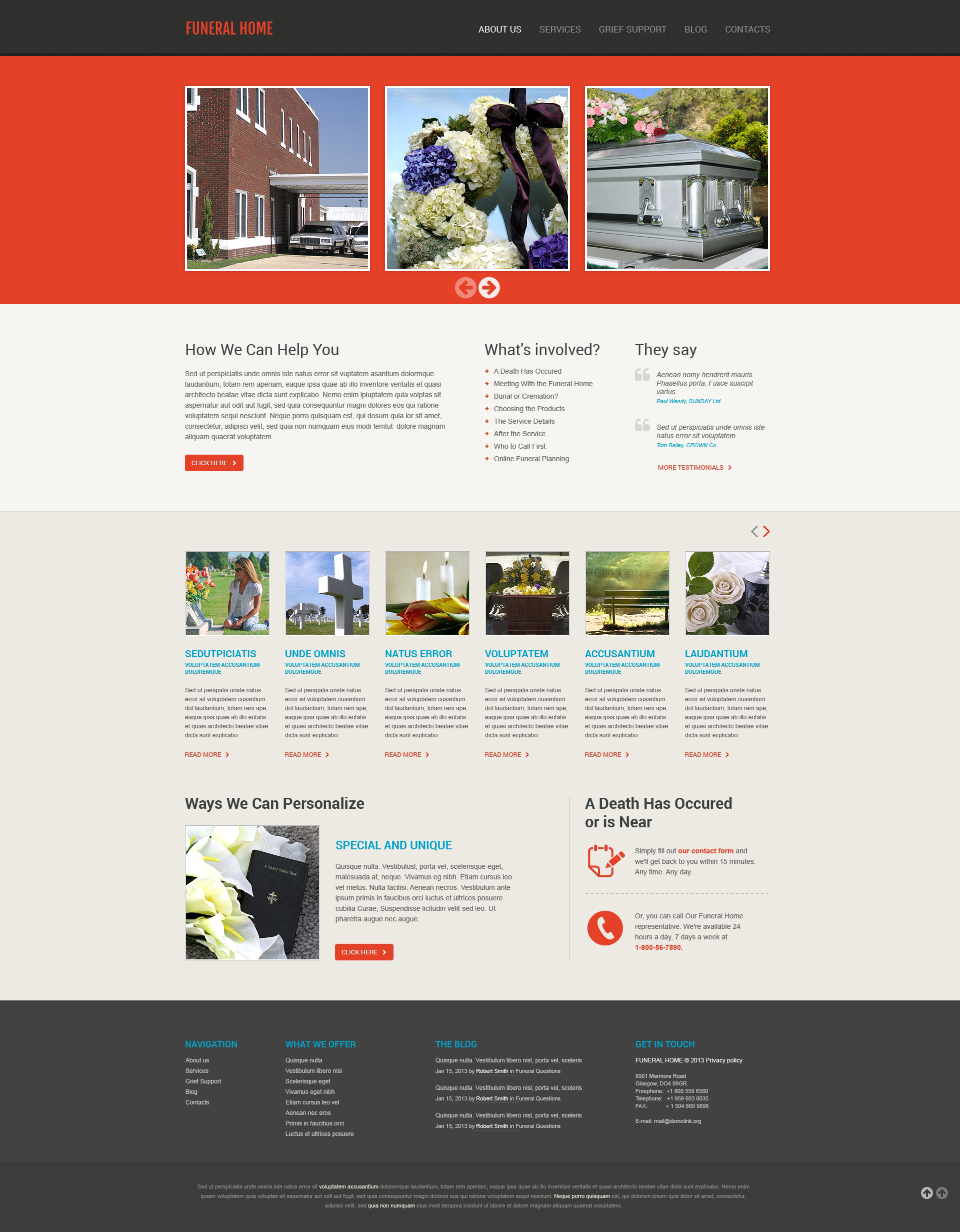 funeral services responsive website template #45960, Powerpoint templates