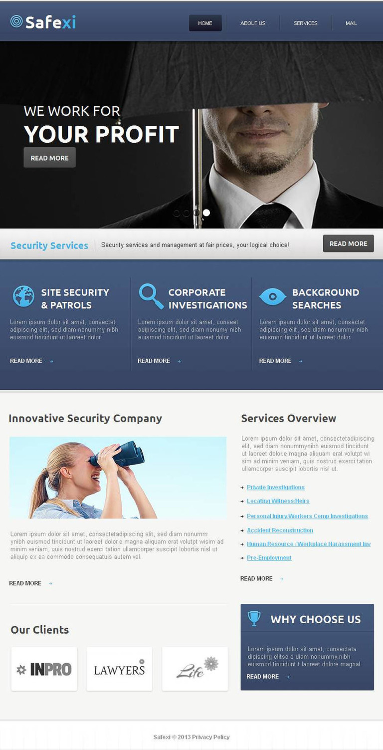 Information Security Facebook HTML CMS Template New Screenshots BIG