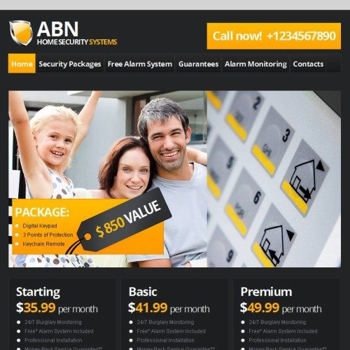 ABN Home Security Systems - Facebook HTML CMS Template