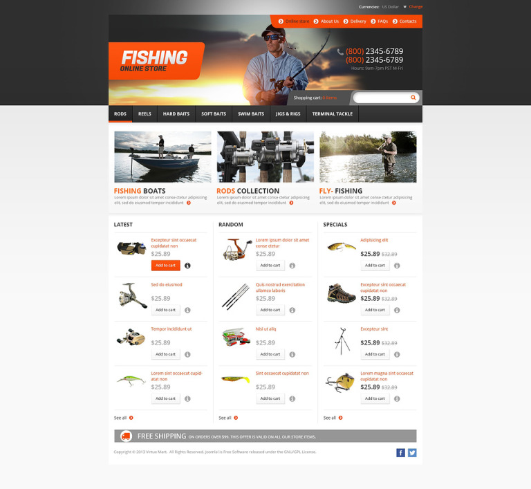 Online Fishing Store VirtueMart Template New Screenshots BIG