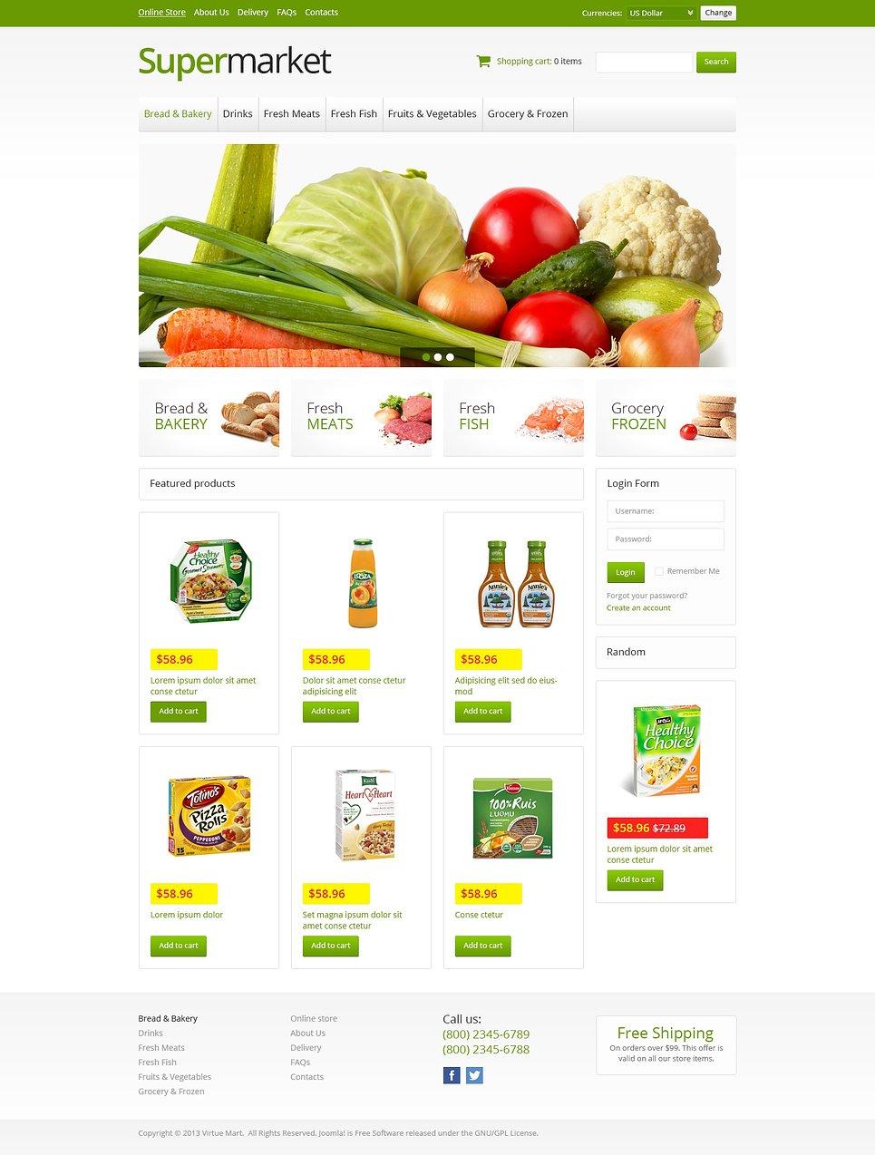 Online supermarket virtuemart template 45942 for Outlet design online