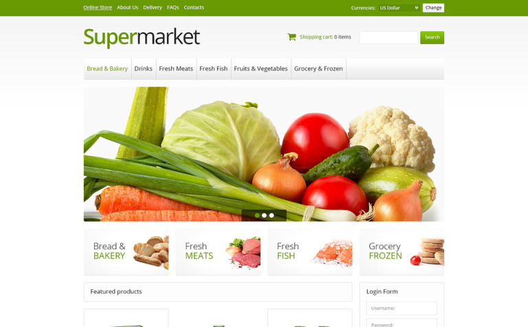 Online Supermarket VirtueMart Template 45942 – Grocery Template