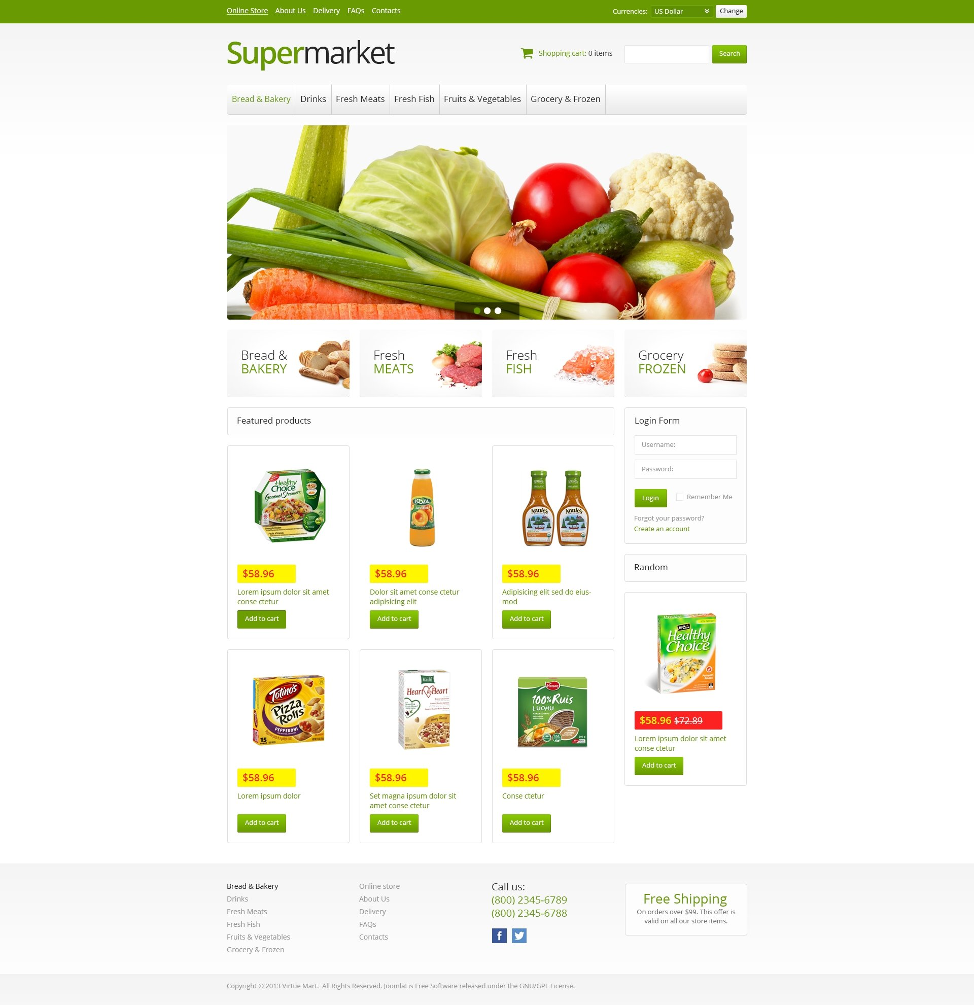 Online Supermarket VirtueMart Template #45942