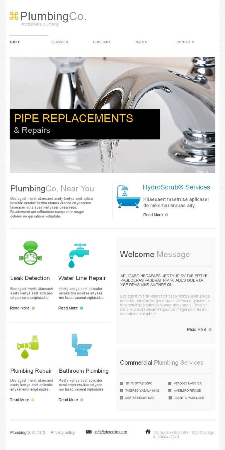 Plumbing Facebook HTML CMS Template New Screenshots BIG