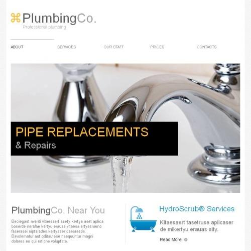 Plumbing Co - Facebook HTML CMS Template