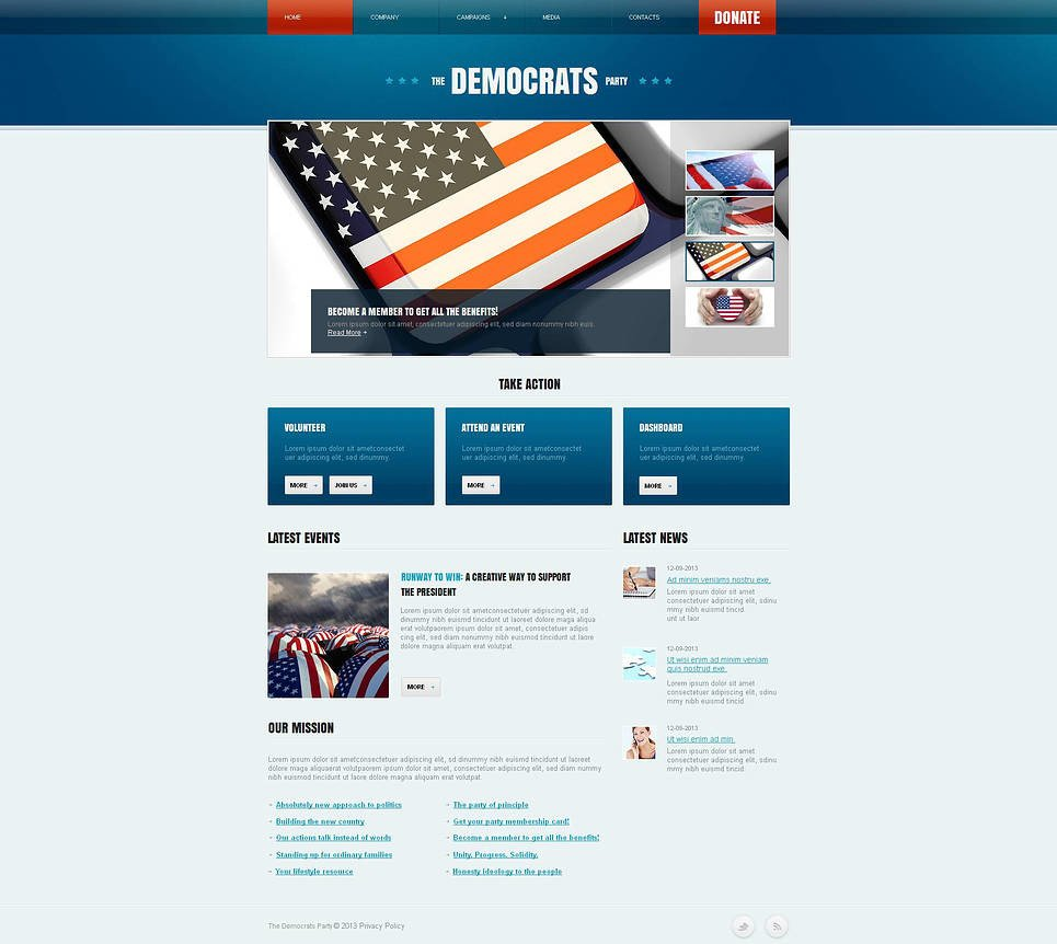 Political Party Moto CMS HTML Template New Screenshots BIG