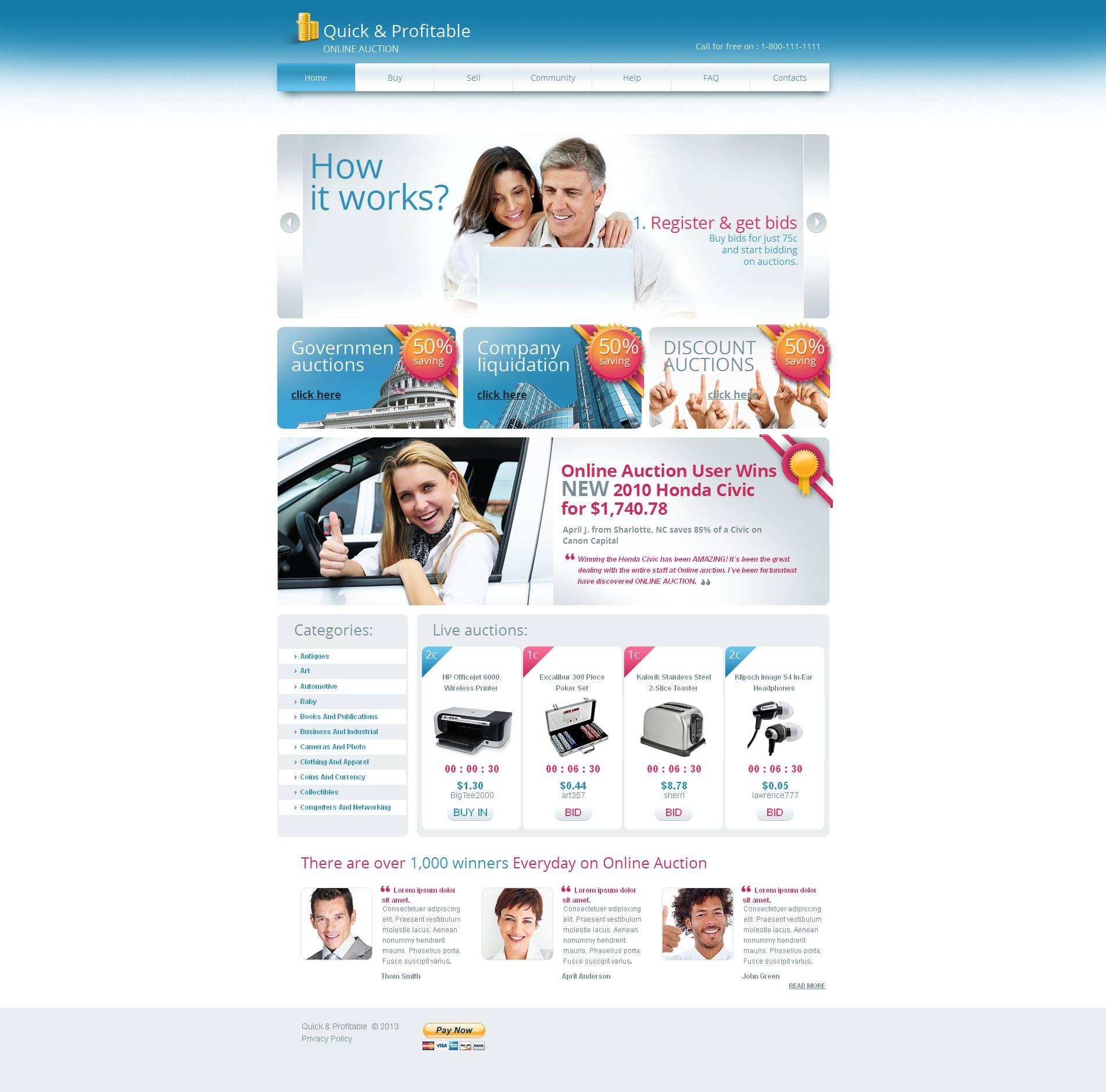 Prémium Auction Moto CMS HTML sablon 45906