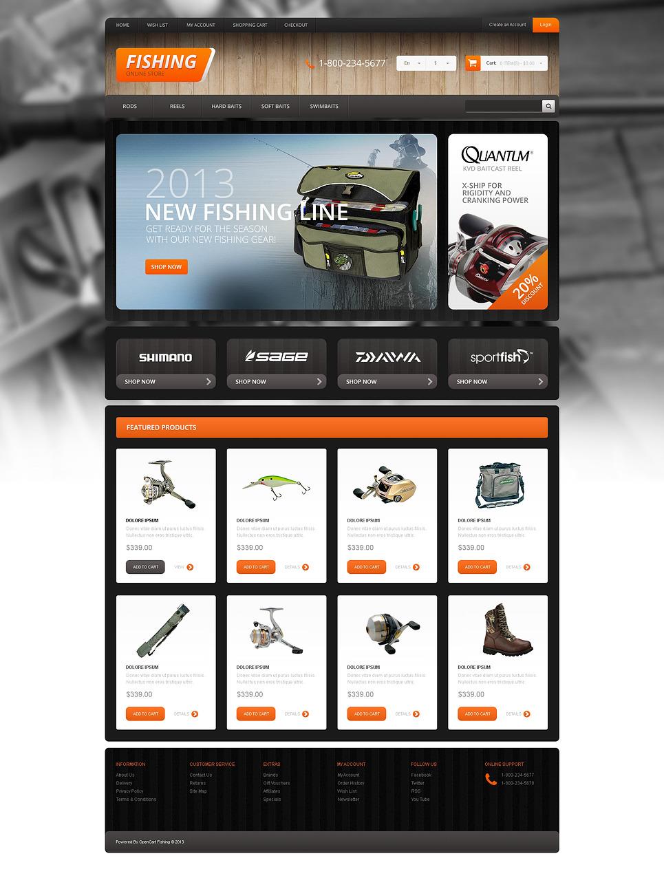 Responsive Fishing Store OpenCart Template New Screenshots BIG