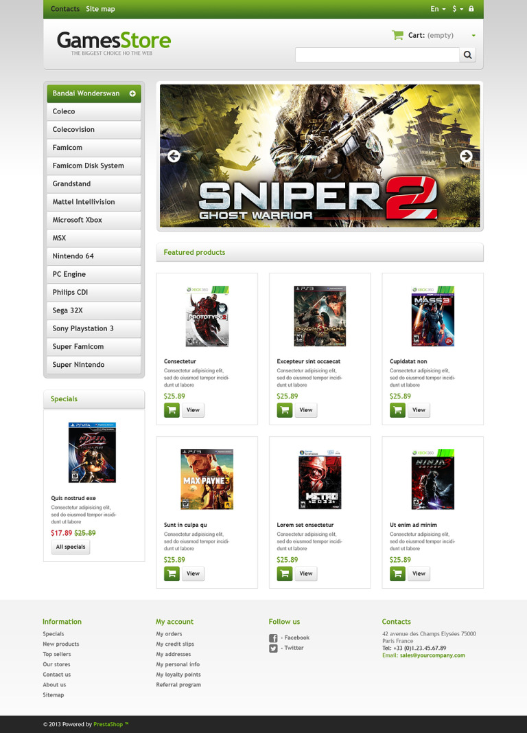 Responsive Games Store PrestaShop Theme New Screenshots BIG