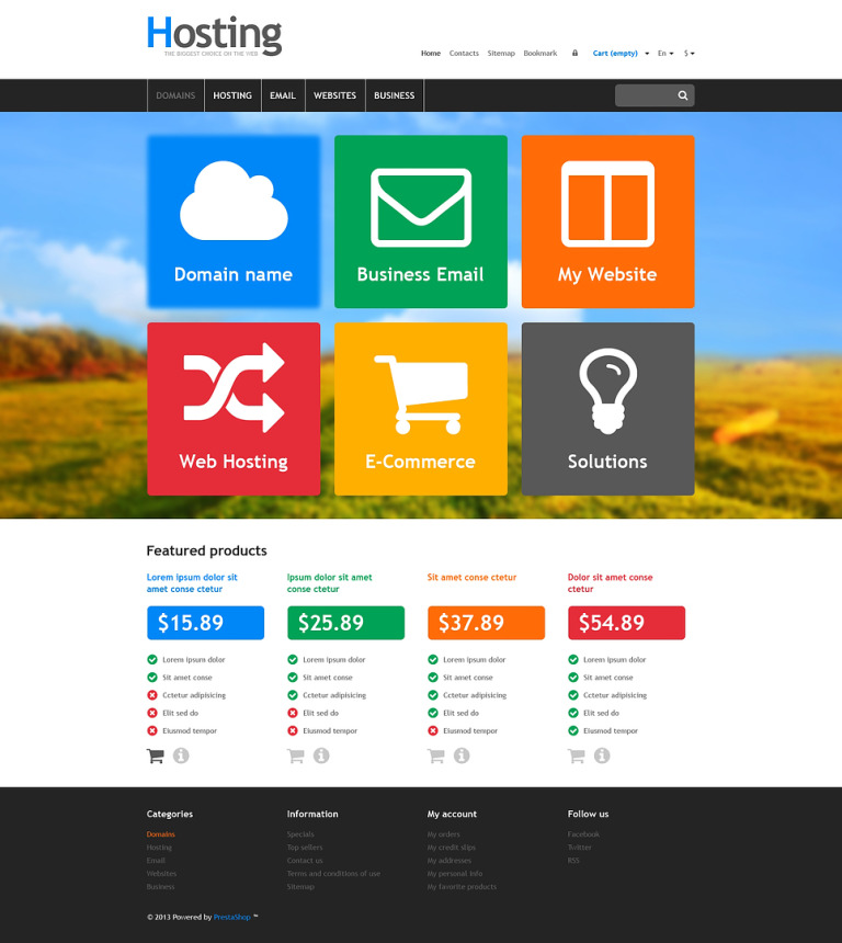 Responsive Hosting Store PrestaShop Theme New Screenshots BIG