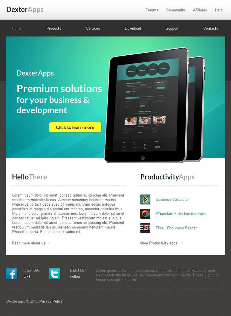 Software Facebook HTML CMS Template New Screenshots BIG