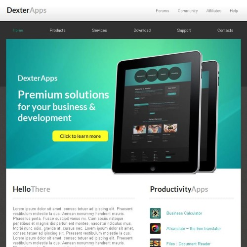 Dexter Apps - Facebook HTML CMS Template