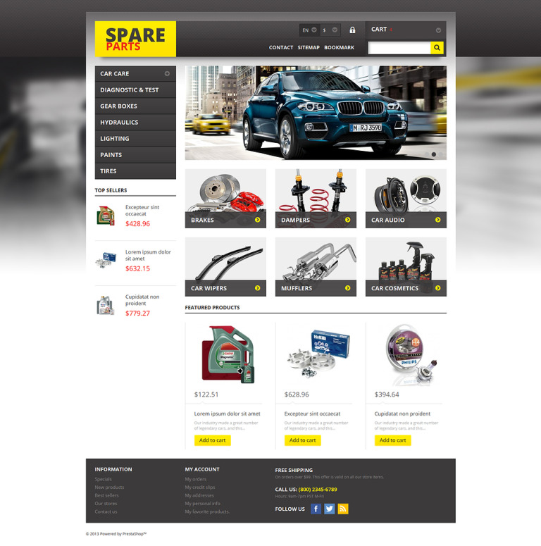 Spares for Any Car PrestaShop Theme New Screenshots BIG