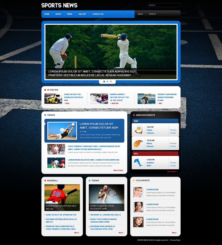 Sports News Responsive Website Template New Screenshots BIG