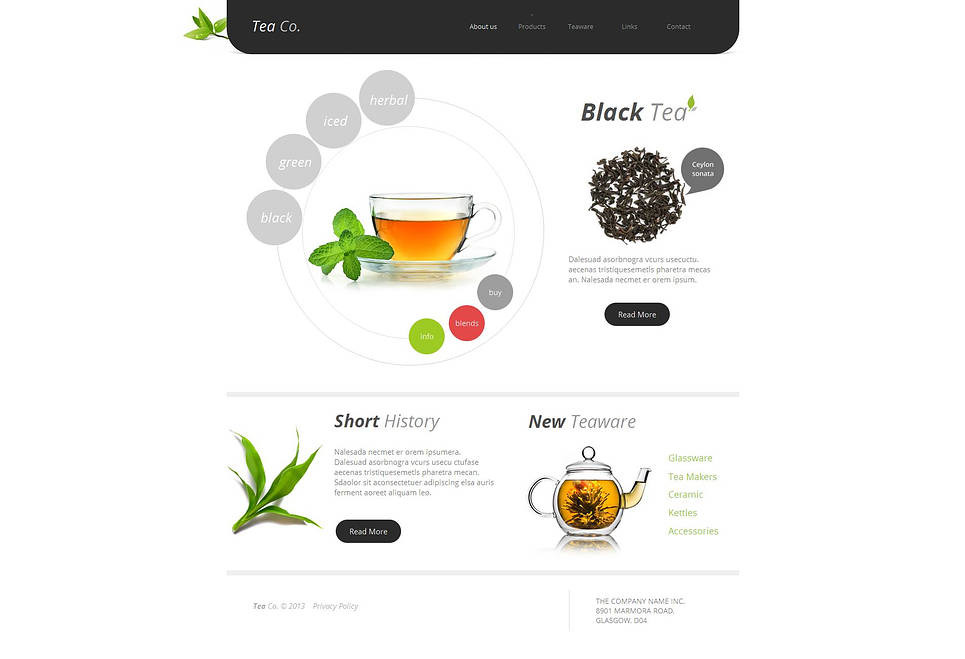 Tea Shop Moto CMS HTML Template New Screenshots BIG