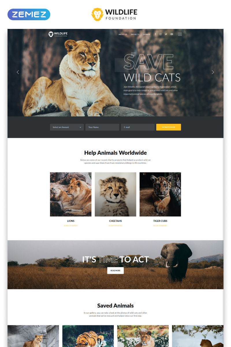 "Template Siti Web Responsive #45961 ""WildLife - Wild Life Multipage Creative HTML"""