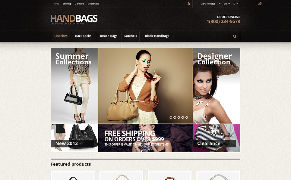 "PrestaShop Theme namens ""Responsive Handtaschen Online Shop"" New Screenshots BIG"