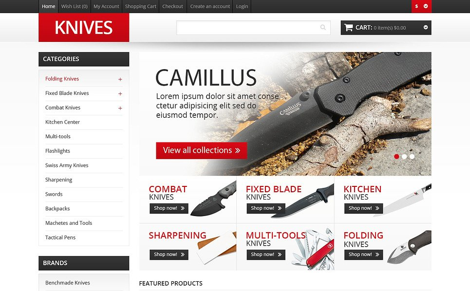 "OpenCart Vorlage namens ""Responsive Messer Shop"" New Screenshots BIG"