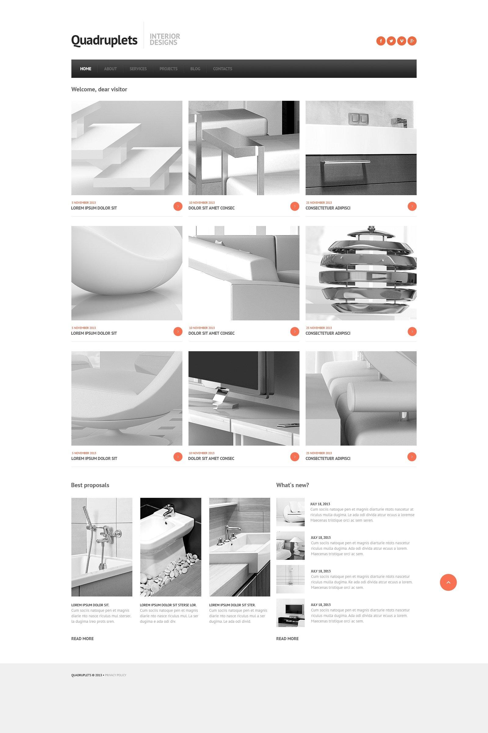 Адаптивный Joomla шаблон №46092 на тему дизайн интерьеров - скриншот