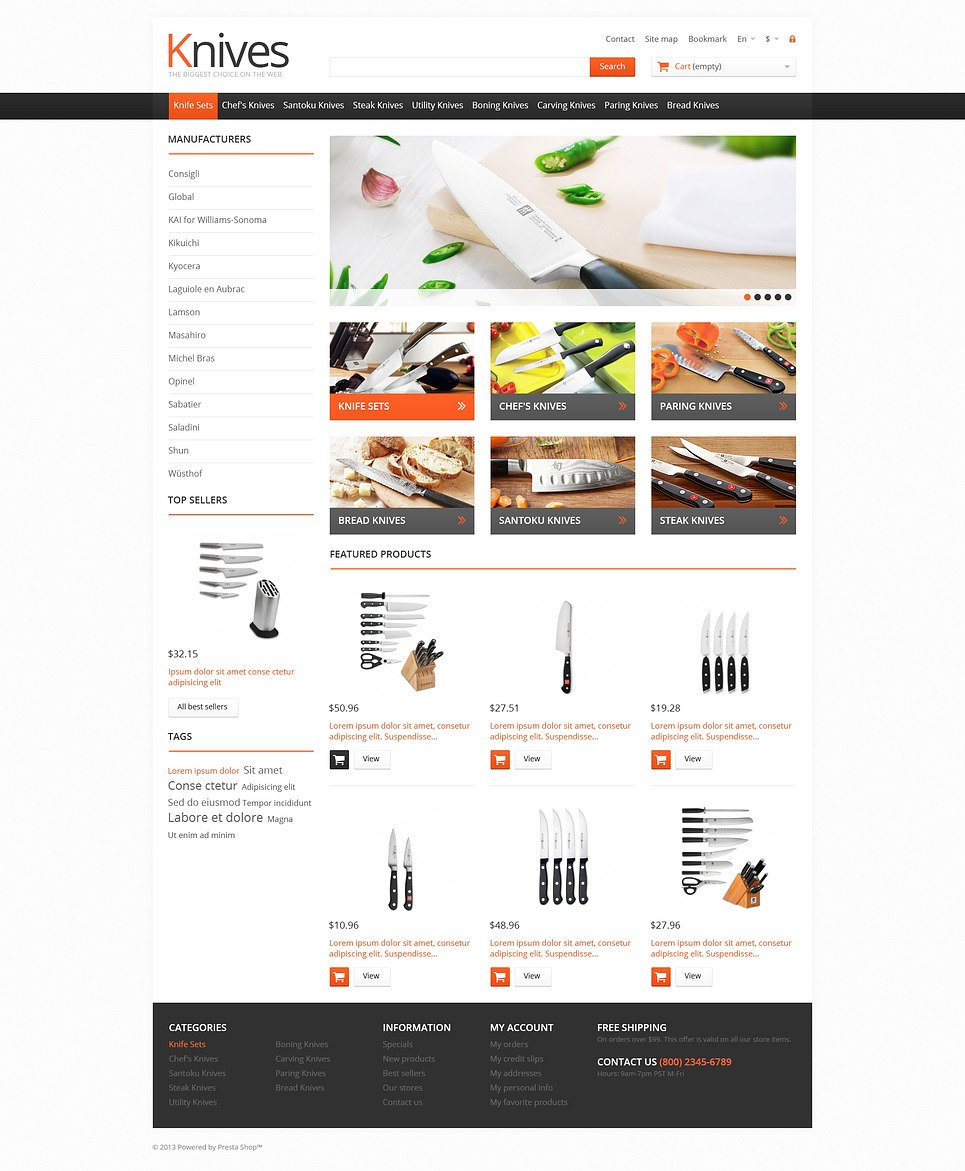 Knives for Easy Cooking PrestaShop Theme New Screenshots BIG