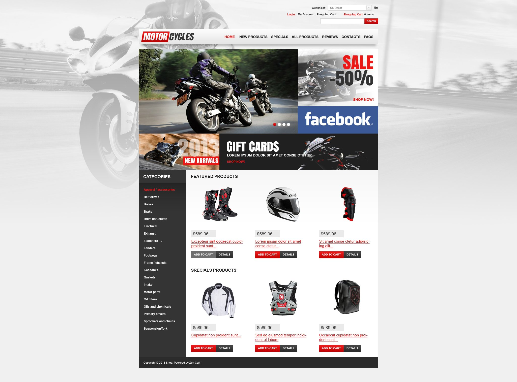 """Motorcycles Store"" - ZenCart шаблон №46083"
