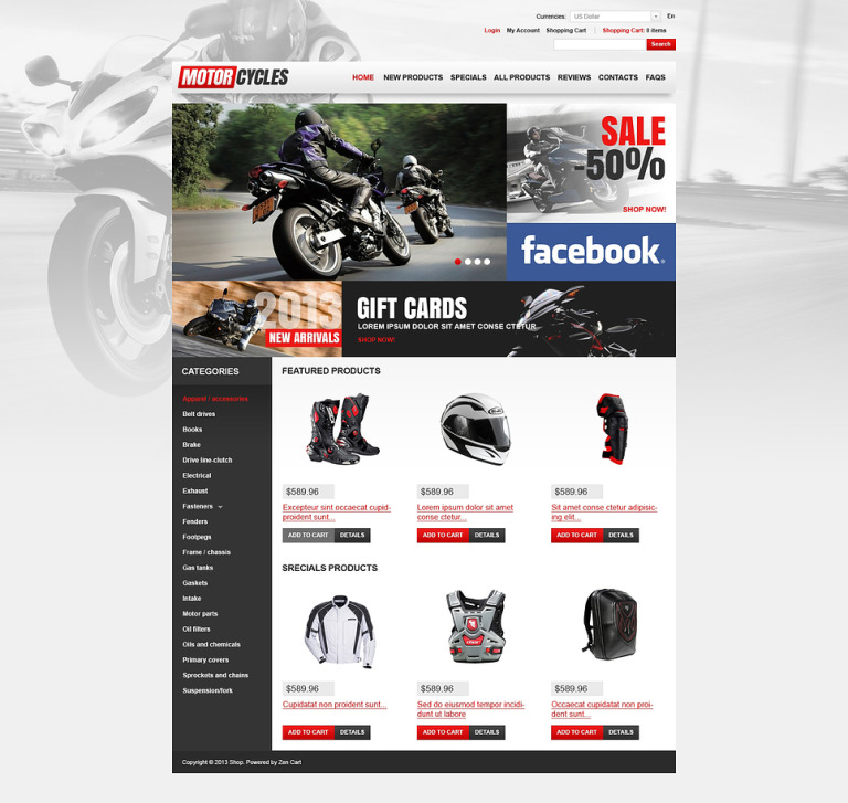 Motorcycles Store ZenCart Template New Screenshots BIG