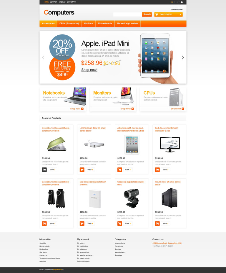 Responsive Computers Store PrestaShop Theme New Screenshots BIG