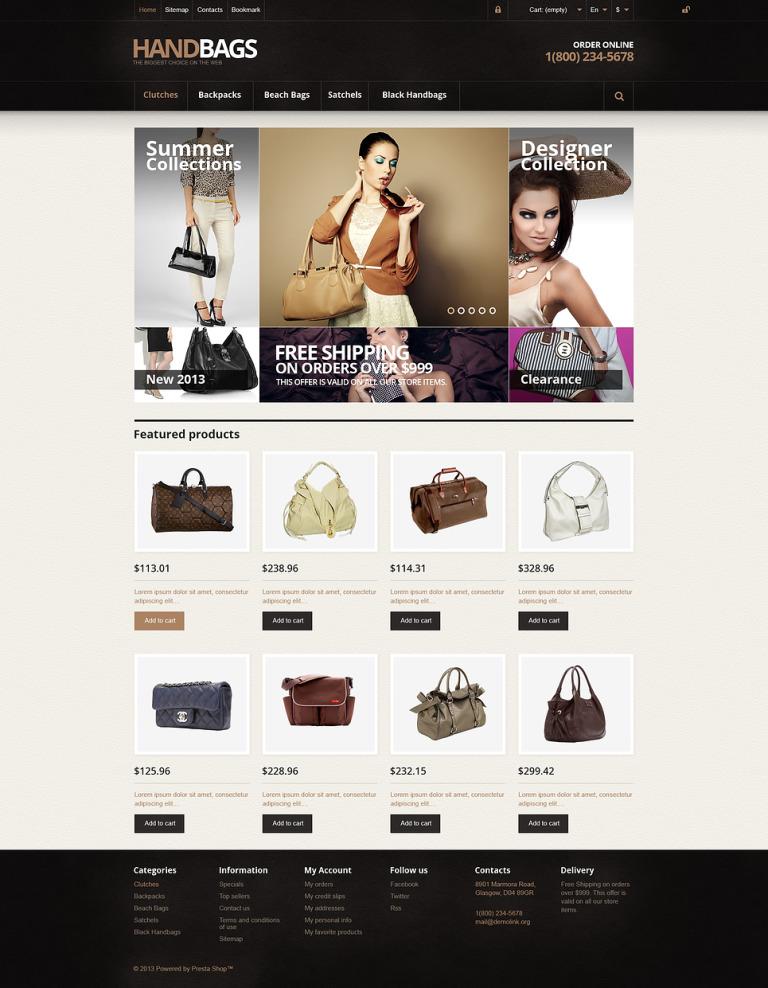 Responsive Handbags Store PrestaShop Theme New Screenshots BIG